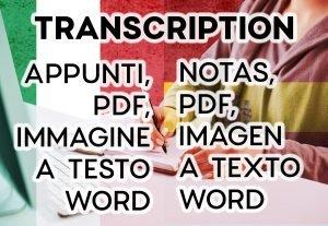 4945Trascrizione appunti, pdf, immagine a word – italiano e spagnolo – 5pag